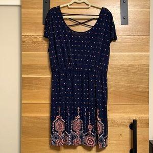 Maurices Navy Boho Print Dress Crisscross Back XXL